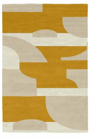 Judy Ross Hand-Knotted Custom Wool Composition Rug cream/oyster/marigold