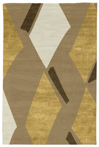 Judy Ross Hand-Knotted Custom Wool Diamonds Rug blonde/gold silk/parchment/pecan