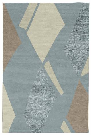 Judy Ross Hand-Knotted Custom Wool Diamonds Rug celadon/pewter/celadon silk/parchment
