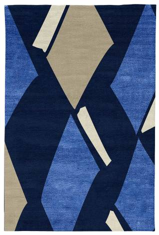 Judy Ross Hand-Knotted Custom Wool Diamonds Rug navy/marine silk/oyster/parchment