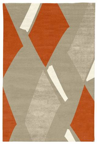 Judy Ross Hand-Knotted Custom Wool Diamonds Rug oyster/coral/oyster silk/cream