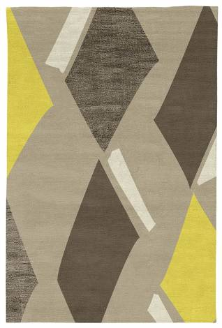 Judy Ross Hand-Knotted Custom Wool Diamonds Rug oyster/yellow/iron silk/parchment