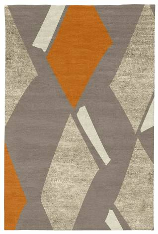 Judy Ross Hand-Knotted Custom Wool Diamonds Rug smoke/oyster silk/melon/parchment