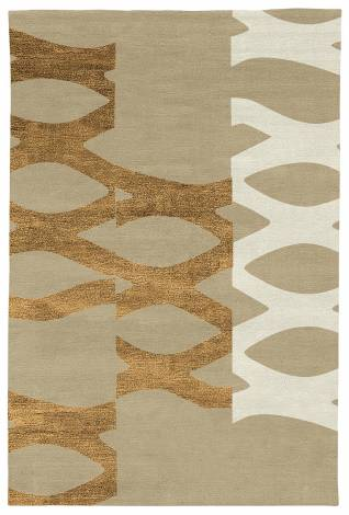 Judy Ross Hand-Knotted Custom Wool DNA Rug blonde/gold silk/cream