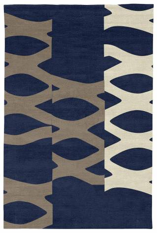 Judy Ross Hand-Knotted Custom Wool DNA Rug midnight/smoke/parchment