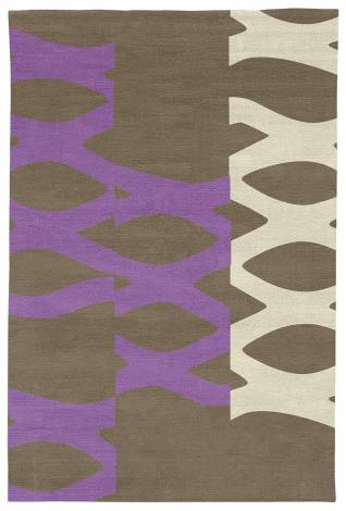 Judy Ross Hand-Knotted Custom Wool DNA Rug stone/lilac/parchment