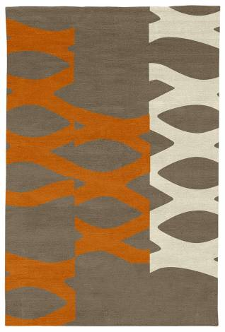 Judy Ross Hand-Knotted Custom Wool DNA Rug stone/melon/parchment