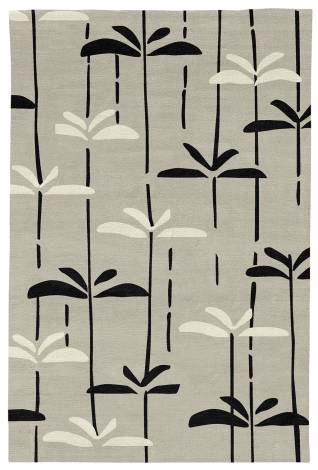Judy Ross Hand-Knotted Custom Wool Dragonfly Rug oyster/black/cream