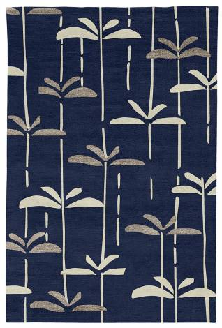 Judy Ross Hand-Knotted Custom Wool Dragonfly Rug midnight/parchment/smoke silk