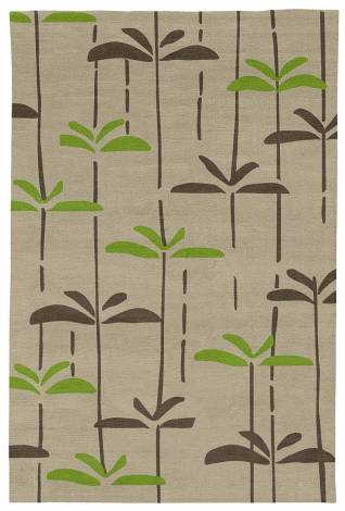 Judy Ross Hand-Knotted Custom Wool Dragonfly Rug oyster/iron/lime