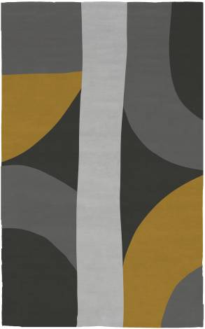 Judy Ross Hand-Knotted Custom Wool Eclipse Rug charcoal/buttercup/black/fog
