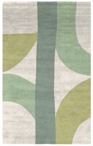 Judy Ross Hand-Knotted Custom Wool Eclipse Rug cream/mint/pollen/spearmint