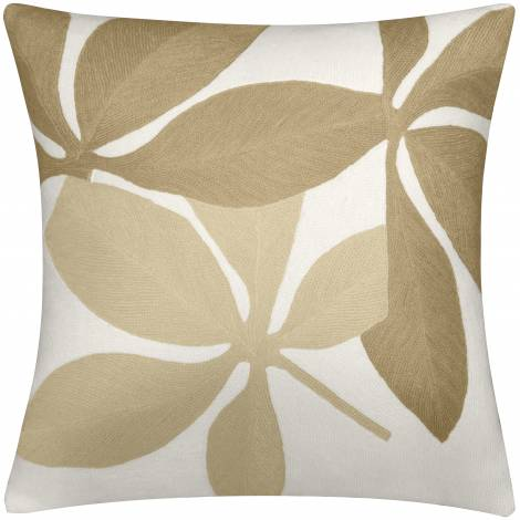 Judy Ross Textiles Hand-Embroidered Chain Stitch Fauna Throw Pillow cream/blonde/wheat