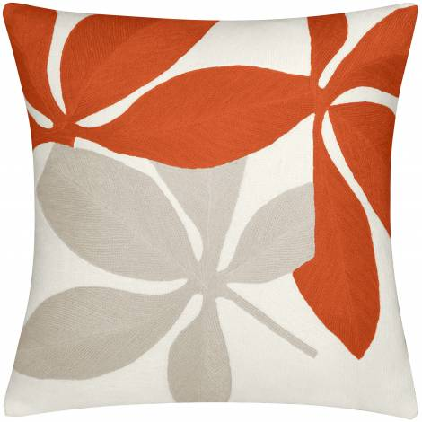 Judy Ross Textiles Hand-Embroidered Chain Stitch Fauna Throw Pillow cream/coral/oyster