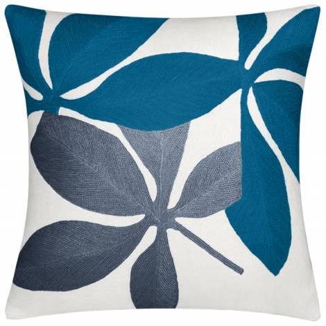 Judy Ross Textiles Hand-Embroidered Chain Stitch Fauna Throw Pillow cream/tropical blue/slate