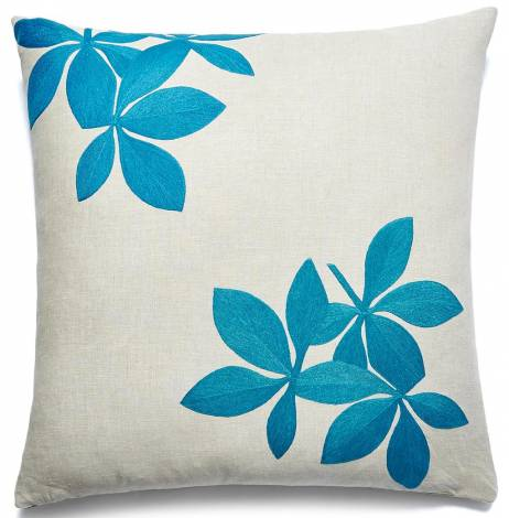 Judy Ross Textiles Hand-Embroidered Chain Stitch Fauna Throw Pillow tropical blue