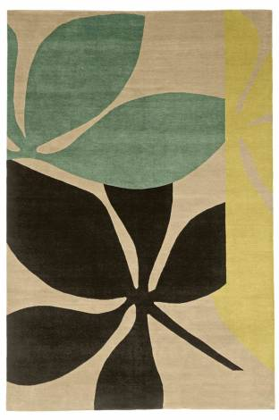 Judy Ross Hand-Knotted Custom Wool Fauna Rug blonde/mint/pollen/chocolate