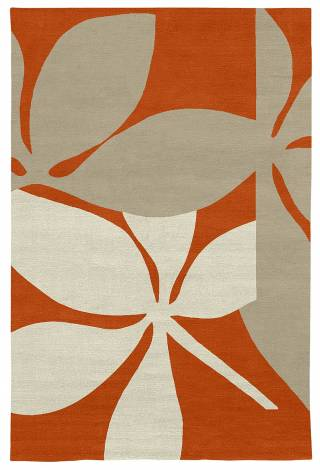 Judy Ross Hand-Knotted Custom Wool Fauna Rug coral/oyster/parchment