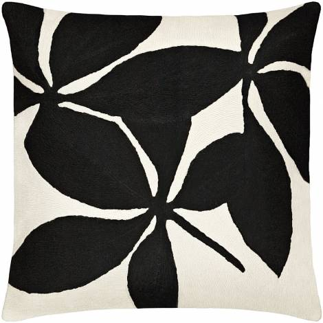Judy Ross Textiles Hand-Embroidered Chain Stitch Fauna Throw Pillow cream/black