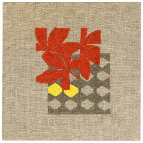Judy Ross Textiles Hand-Embroidered Linen Fauna Lattice Panel red/grey/lemon
