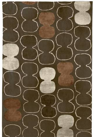 Judy Ross Hand-Knotted Custom Wool Tabla Outlined Rug fig/oyster silk/rust silk