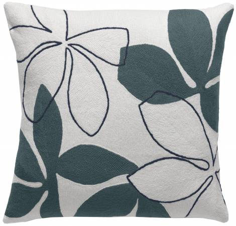 Judy Ross Textiles Hand-Embroidered Chain Stitch Flora Throw Pillow cream/slate/navy