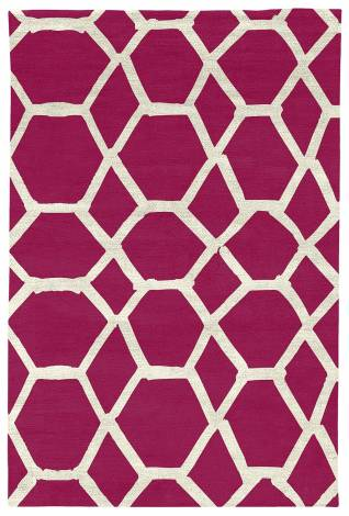 Judy Ross Hand-Knotted Custom Wool Jalli Rug cerise/cream silk