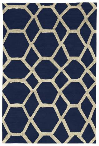 Judy Ross Hand-Knotted Custom Wool Jalli Rug midnight/parchment silk