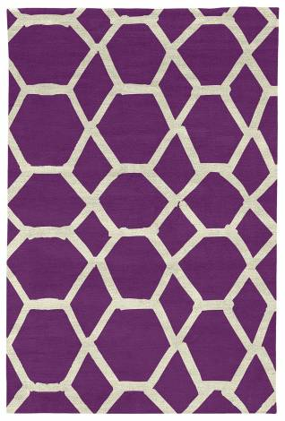 Judy Ross Hand-Knotted Custom Wool Jalli Rug purple/parchment silk
