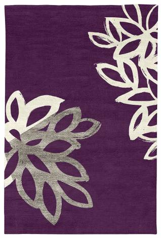 Judy Ross Hand-Knotted Custom Wool Lagoon Rug aubergine/cream silk/iron silk