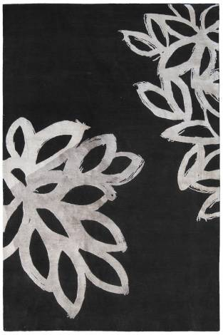 Judy Ross Hand-Knotted Custom Wool Lagoon Rug black/parchment silk/pewter silk