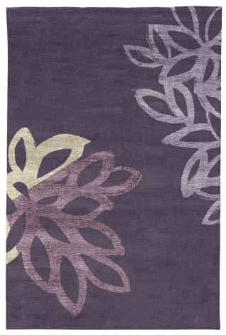 Judy Ross Hand-Knotted Custom Wool Lagoon Rug grape/oyster silk/mauve silk/grape silk