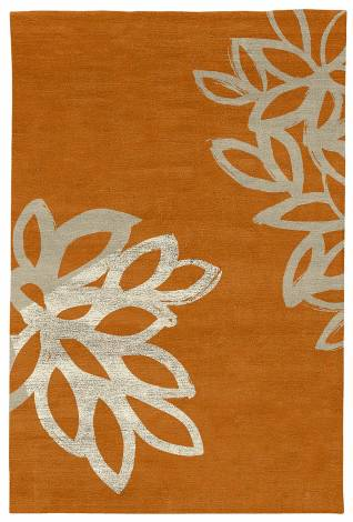 Judy Ross Hand-Knotted Custom Wool Lagoon Rug melon/oyster/oyster silk