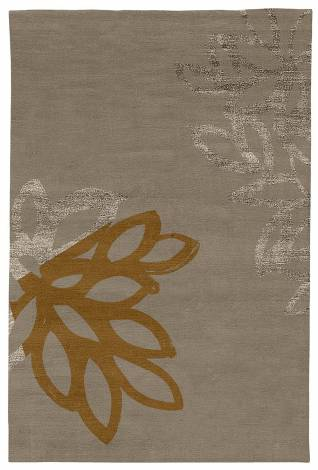 Judy Ross Hand-Knotted Custom Wool Lagoon Rug pewter/pewter silk/auburn