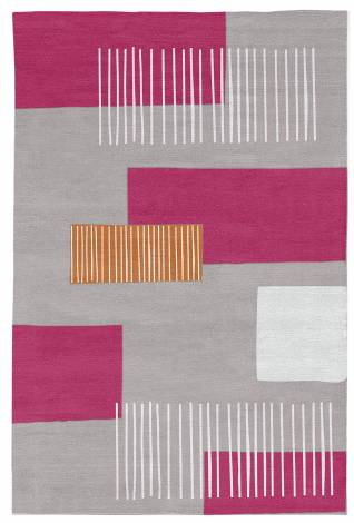 Judy Ross Hand-Knotted Custom Wool Level Two Rug fog/cream/cerise/melon