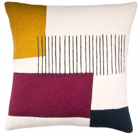 Judy Ross Textiles Hand-Embroidered Chain Stitch Level Throw Pillow cream/curry/claret/navy