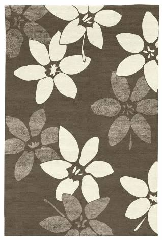 Judy Ross Hand-Knotted Custom Wool Lilies Rug iron/cream/iron silk