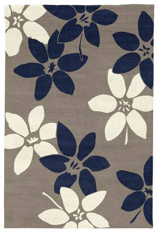 Judy Ross Hand-Knotted Custom Wool Lilies Rug smoke/midnight/cream