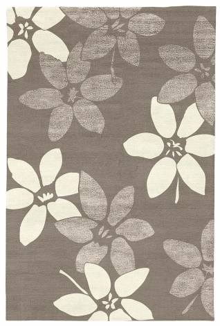 Judy Ross Hand-Knotted Custom Wool Lilies Rug smoke/smoke silk/cream