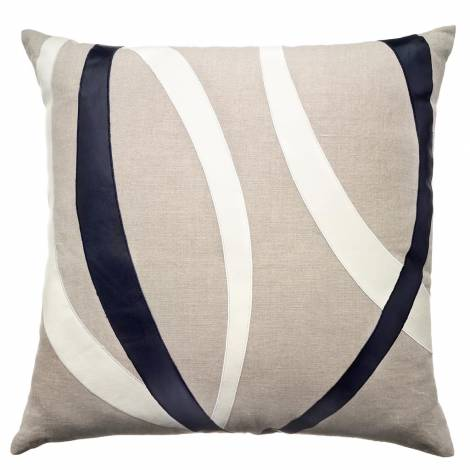 Judy Ross Textiles Embroidered Linen Loop Throw Pillow creaml leather/navy leather