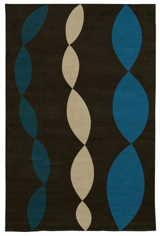 Judy Ross Hand-Knotted Custom Wool Necklace Rug chocolate/azure/blonde/tropical blue