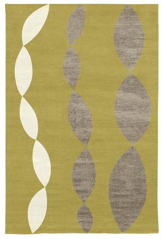 Judy Ross Hand-Knotted Custom Wool Necklace Rug pollen/cream/pewter silk
