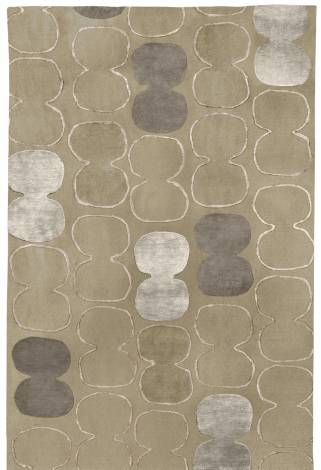 Judy Ross Hand-Knotted Custom Wool Tabla Outlined Rug oyster/oyster silk/pewter silk