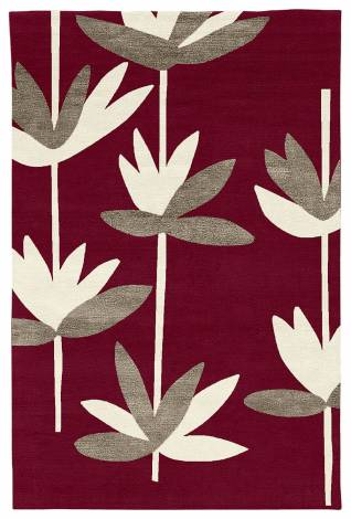 Judy Ross Hand-Knotted Custom Wool Palm Rug berry/ivory/pewter silk