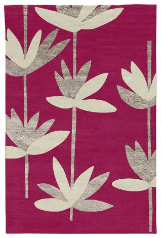 Judy Ross Hand-Knotted Custom Wool Palm Rug cerise/smoke silk/parchment
