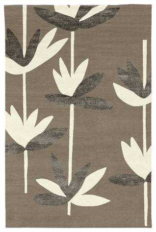 Judy Ross Hand-Knotted Custom Wool Palm Rug pewter/cream/dark fig silk