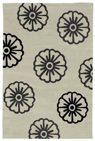 Judy Ross Hand-Knotted Custom Wool Pinwheel Rug parchment/black
