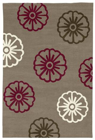 Judy Ross Hand-Knotted Custom Wool Pinwheel Rug pewter/berry/cream/fig