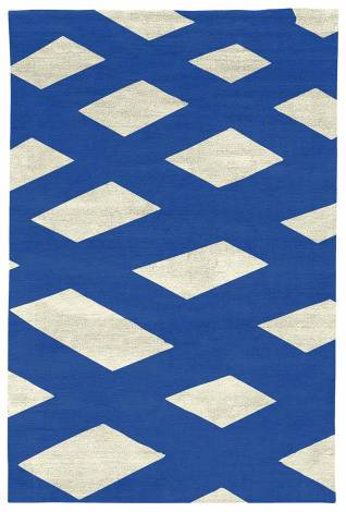 Judy Ross Hand-Knotted Custom Wool Plaid Rug parchment silk/marine