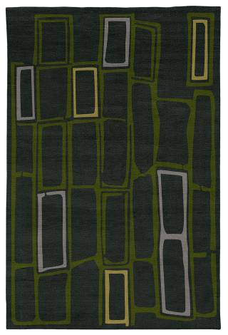 Judy Ross Hand-Knotted Custom Wool Procession Rug charcoal/jade/silver/pollen
